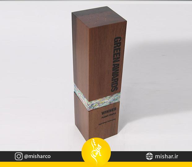 تندیس چوبی مکعب مستطیل با همراه پلکسی اکلیکی